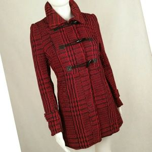 Jackets & Blazers - Red Textured Toggle Coat