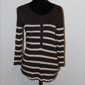 "J. Crew black ""placed henley"" striped top"