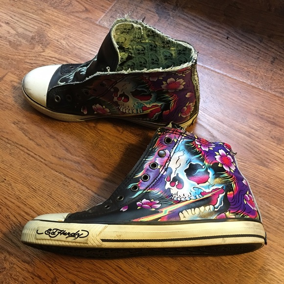 Ed Hardy Leather Laceless Slip on High Tops
