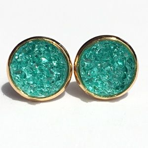 thejeweladdict Jewelry - 3 for 15🎀chunky mint Druzy style gold earrings