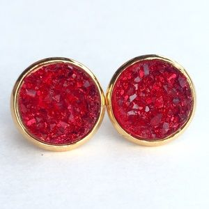 thejeweladdict Jewelry - 3 for 15🎀chunky red Druzy style gold earrings