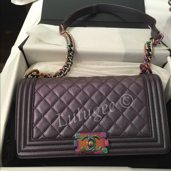 ae6a14b3a361 CHANEL Bags | Nfsauth Rare Purple Rainbow Medium Le Boy | Poshmark