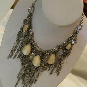 Bohemian Multi Strand Silver Dangle Bib Necklace