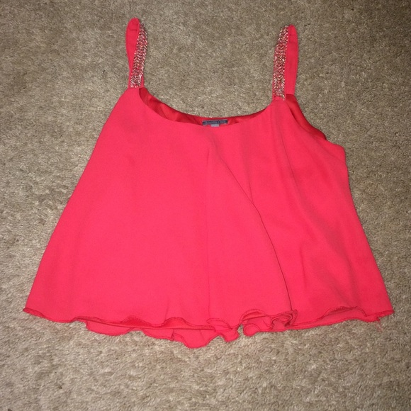 bf99f48820b Charlotte Russe Tops | Red Flowy Crop Top | Poshmark