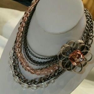 Bohemian Multi Strand Silver Pink Bib Necklace