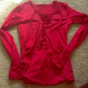 Tops - NWOT Red Lace Up Bodysuit