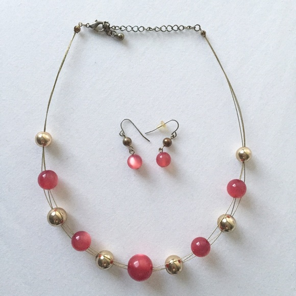 Jcpenney Charm Bracelet: Pink And Gold Ball Necklace And
