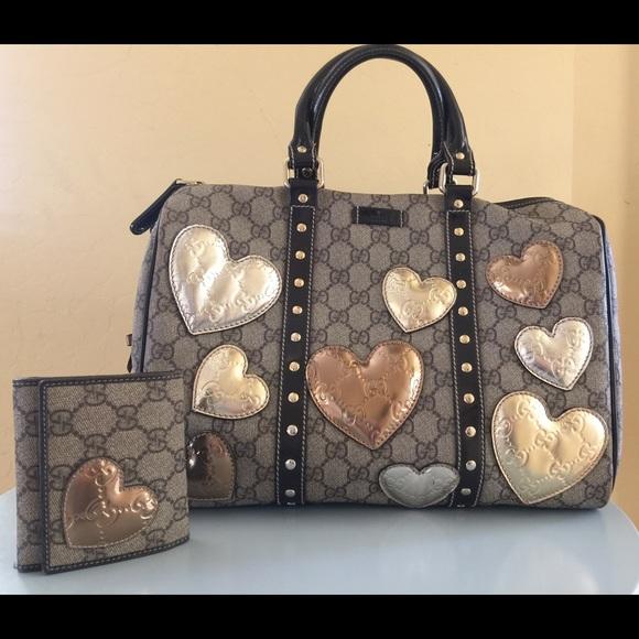 23928200f Gucci Bags   Boston Joy Bag With Metallic Hearts Limited   Poshmark