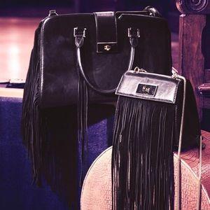 Bebe satchel fringe bag