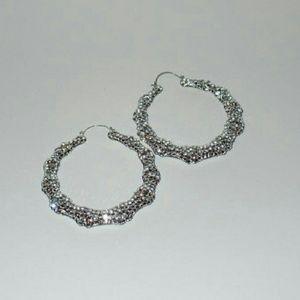 Jewelry - Large CZ Encrusted Hoop Earrings