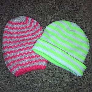 Pink/Cream & Neon Green/White beanies