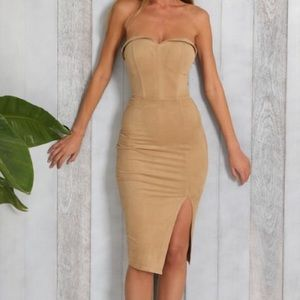 White Fox Boutique  Dresses - Nude London Suede Midi Dress