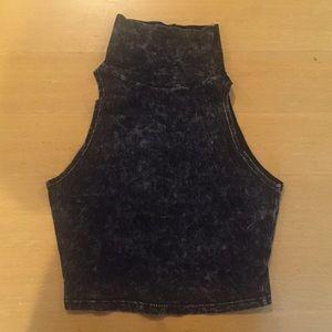Black Acid Wash Crop Top