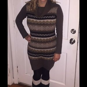 Super cozy BCBG sweater dress with swoop neck