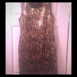 Shoshanna black & gold sequin dress (size 4)