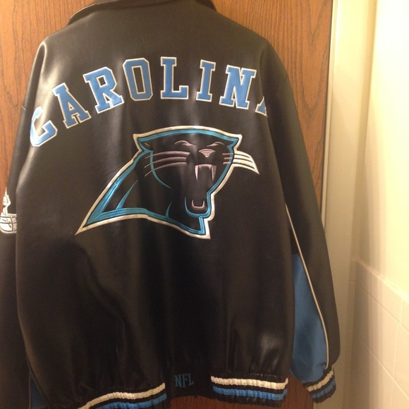best sneakers d3b53 f829e NFL Carolina Panthers Faux Leather Jacket