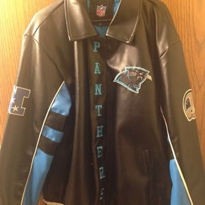 best sneakers 17aa9 847c7 NFL Carolina Panthers Faux Leather Jacket