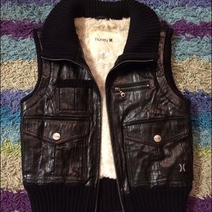 HURLEY Black Genuine Leather Vest Jacket