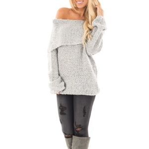 Heather Grey Cowl Neck Cable Knit Sweater