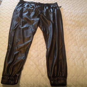 Vegan leather jogger pants
