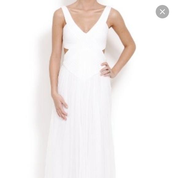 bcbg Dresses   White Cut Out Gown   Poshmark
