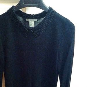 H&M Tops - Beaded Peter Pan Collar Knit Top