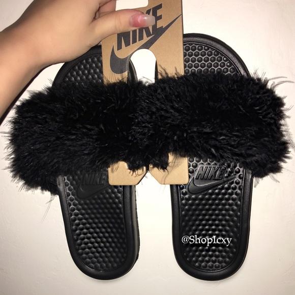 02f5e606fb5a3 Nike Faux Fur Slides Custom Made NWT