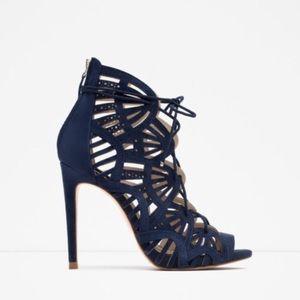 💙Zara navy blue wrap lace up sandals pumps 38 8💙