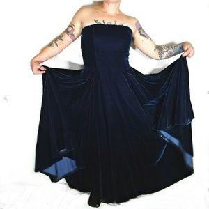 Stunning blue velvet evening gown
