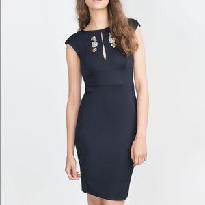 Zara dress with jewelled neckline Size L NWT