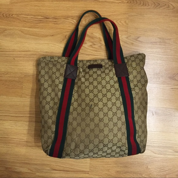 b55bc1be1fb0 Gucci Handbags - Gucci Beige Gg Canvas Signature Web Shopper Tote