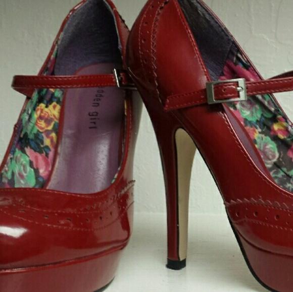 Madden Girl Shoes - Madden Girl Red Wingtip Mary Jane Platform Heels