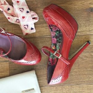 Madden Girl Red Wingtip Mary Jane Platform Heels