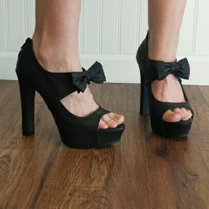 Qupid Shoes - Qupid Black Bow Retro Platform Heels