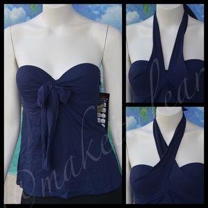 NEW COCO REEF tankini swim top navy blue suit S4/6