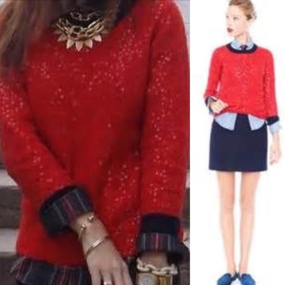 80% off J. Crew Sweaters - Jcrew red sequin sweater s blue blogger ...