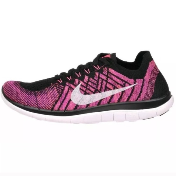 bbbc16857ed8 Nike Free 4.0 Flyknit Pink Black Running Shoes