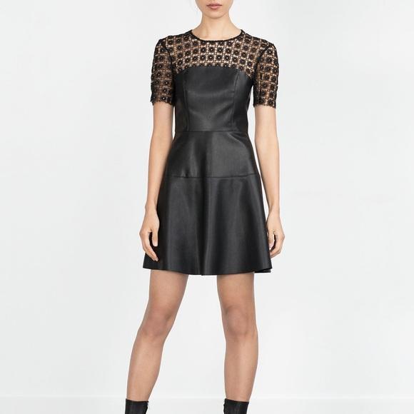 52 Off Zara Dresses Amp Skirts Zara Leather Lace Black