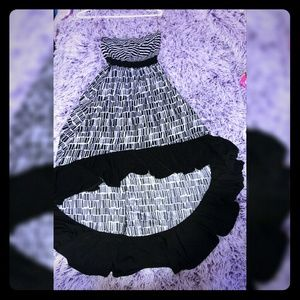 Strapless, High-Low black and white dress