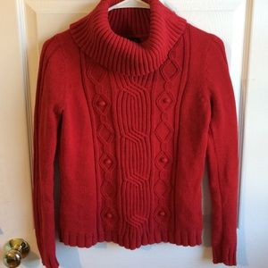 Red cowl neck