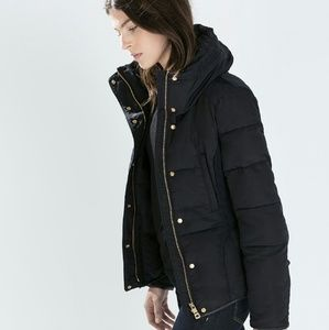 {zara} down quilted anorak with belt