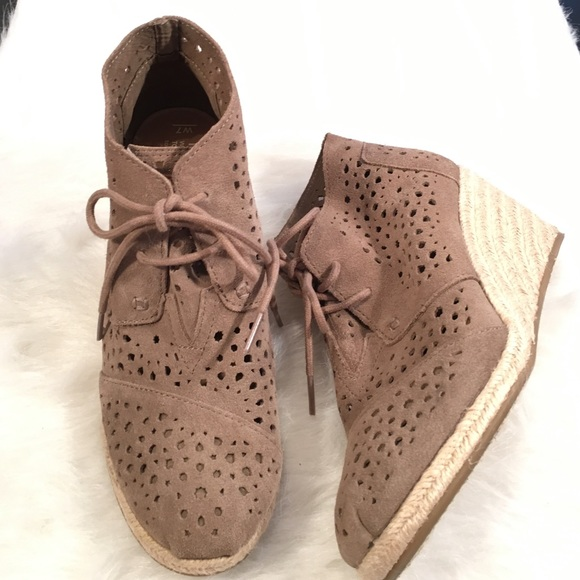 0f6a440f497 Tom s Taupe Moroccan Cutout Desert Wedge Bootie. M 56981757ea3f3633ad00788d