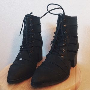 Shop Wasteland slashed cut out pointy combat boots