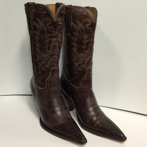 Gorgeous Mahogany Leather Lucchese Charlie 1 Horse Boots - 7.5