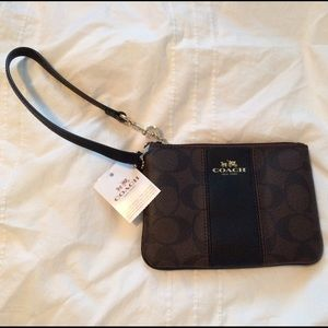 Coach Signature Leather/PVC Wristlet, New with Tag