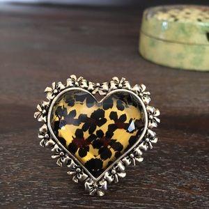 Betsey Johnson Leopard Print Heart Ring