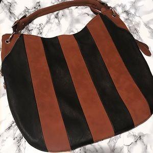 Black Rivet Handbags - Cognac & Black Faux Suede/Leather Hobo bag