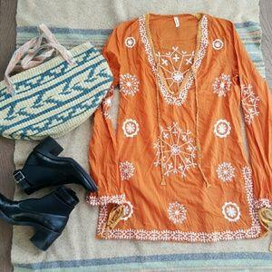 Orange Boho Tunic