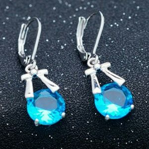 Jewelry - White Gold Plated Blue CZ Earrings NWOT