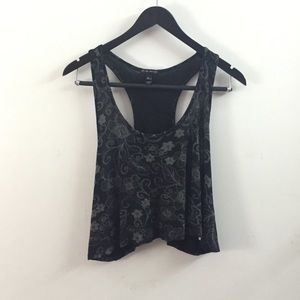 ... Crop Top Tank Floral Flowers Black and Gray ... 6caaad99c9c84